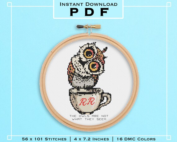 Twin Peaks Cross Stitch Kit The Owls are not What they Seem DIY 90s home decor