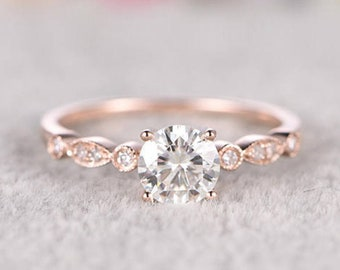 Moissanite Solid 14K 18K Rose Yellow Gold Fashion Hollow Three Row Diamond Ring Wedding Engagement Ring for Women