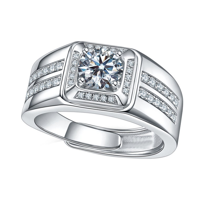 Moissanite Solid 14K 18K White Gold Fashion Ring Wedding Engagement Ring for Men with Certificate