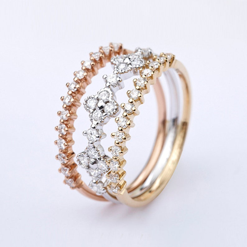 Personality Moissanite Solid 14K 18K Rose Yellow White Gold Three-color Three-in-One Ring,Wedding Engagement Ring for Women