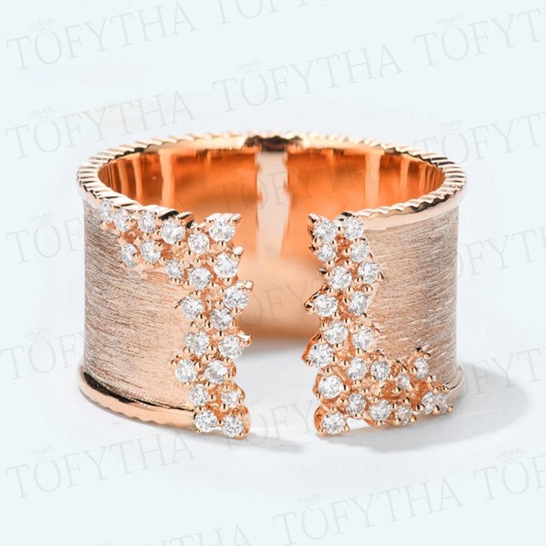 Fashion Moissanite Solid 14K 18K Rose Yellow Gold Open Brushed Ring Wedding Engagement Ring for Women