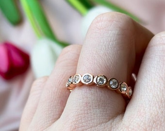 Rose Gold Tennis Ring Round Full Eternity Ring Stackable Ring Full Eternity Band women Stacking Silver Ring Rose Gold Eternity Ring