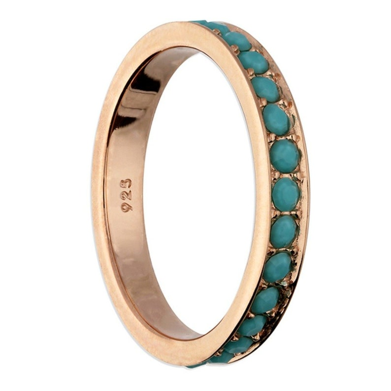 Blue Sapphire Colour Ring Full Eternity Rose Gold Ring Band with Blue Gemstones Stacking and Infinity Ring