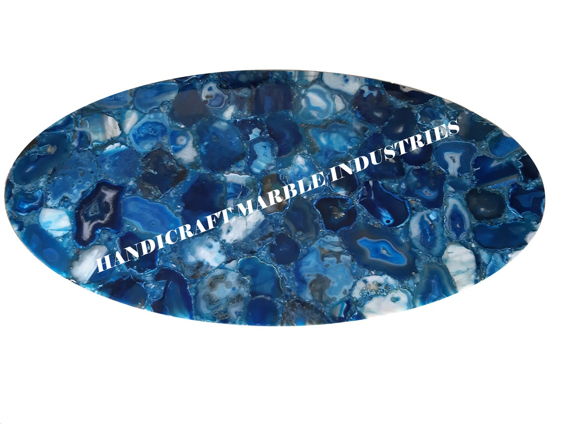 Agate Table Top, Blue Agate Table, Natural Agate Table, Agate Center Table Living Room Decor Furniture Table