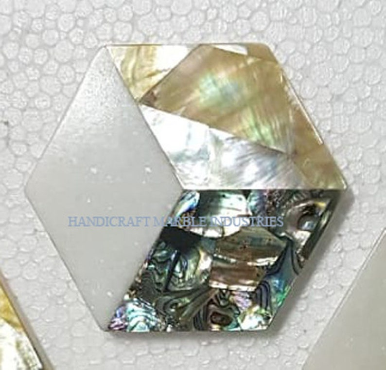 Christmas Gifts 3-D EFFECT HEXAGON Mother of Pearl Marble Coaster Set Gold Inlay Tea Coaster Drink Coasters Tableware Bar Dinning Tableware