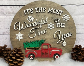 """Customizable 3D Wood Holiday Sign 