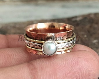 Worry Ring Vintage Ring Pearl Spinner Ring Meditation Ring For Women Dainty Ring Statement Ring,Gift Pearl Gemstone Ring Anxiety Ring