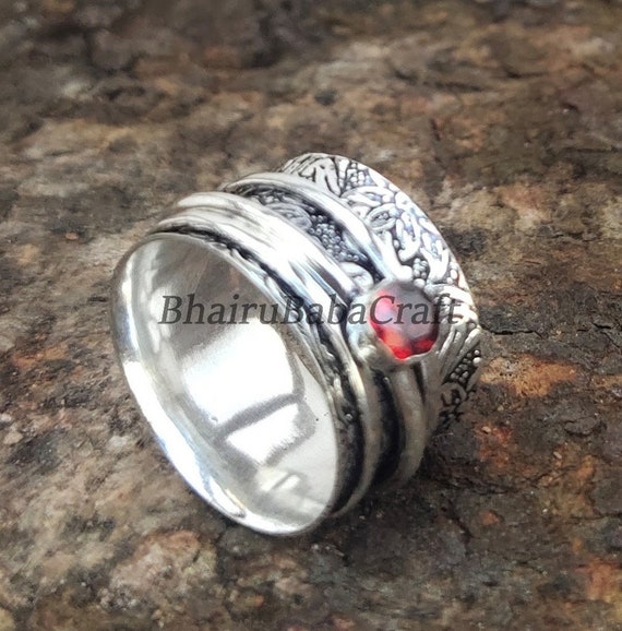 Swirl size 3.8 Toe Ring Pinkie Knuckle Thumb Midi Summer Beach Body Jewelry Anniversary Handmade Hot New Sterling Silver GRANET CRYSTAL