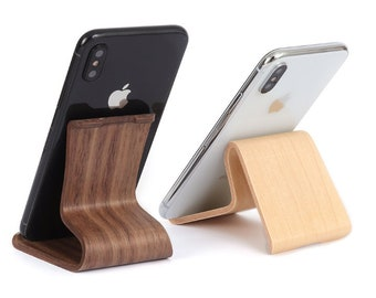Wood iPhone stand, wooden docking station, iPhone stand holder for desk kitchen or music, fits smartphones Samsung Google Huawei and tablets