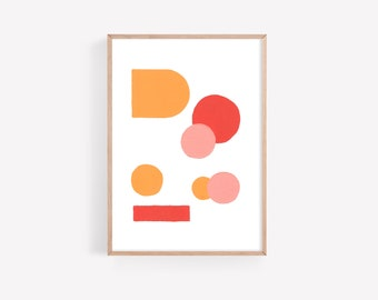 Abstract, minimal downloadable art • printable • red + pink