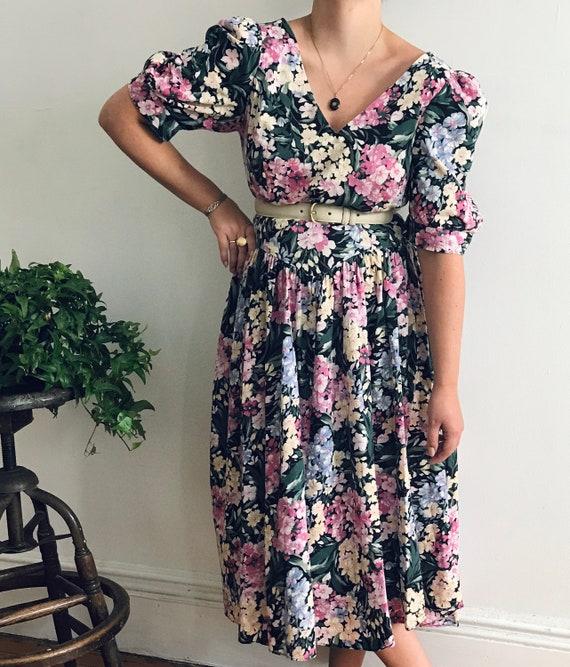 Vintage Floral Puff Sleeve Midi-Length Cotton Dres