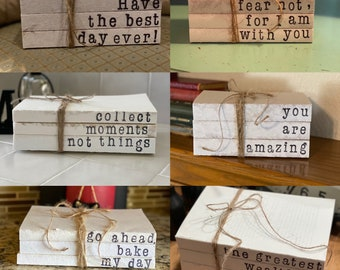 PERSONALIZED Hand Stamped Decorative 3 Book Stack // Farmhouse Decor