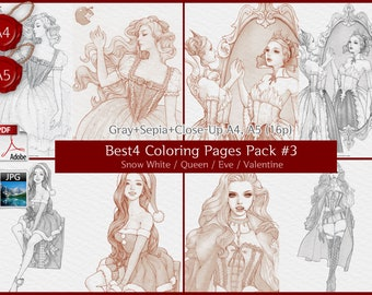 Snow White+Queen+Eve+Valentine / Set of 4 beautiful Woman GRAYSCALE coloring page, Coloring pages for adults, Instant Download PDF Files