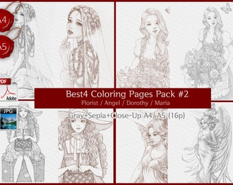 Florist+Angel+Dorothy+Maria / Set of 4 beautiful Woman GRAYSCALE coloring page, Coloring pages for adults, Instant Download PDF Files