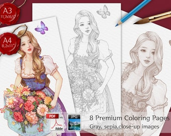 FLORIST_ Coloring PDF, 8 variants, Coloring pages for adults, Grayscale Coloring, A4,A5, Beautiful Woman Coloring,Flower Coloring