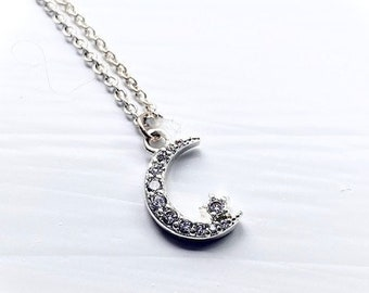 minimalist CZ charms crescent moon contemporary gold cubic zirconia Pendant gift by Mosleberry simple celestial necklace