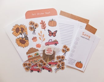 Fall Snail Mail Kit   Fall   Snail Mail Kit   Happy Mail   Snail Mail   Pen Pal   Letter Writing   Stationary   Stickers   Washi Tape   Card