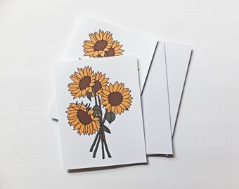 Sunflower Blank Cards   Sunflower   Happy Mail   Snail Mail   Blank Card   Fall   Fall Card   Thank You Card   Pen Pal   Any Occassion Card