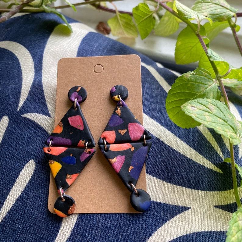 Purple Blue Pink Orange Sunset Terrazzo Double Triangle Earrings Black Yellow Rose Gold Leaf Polymer Clay Earrings