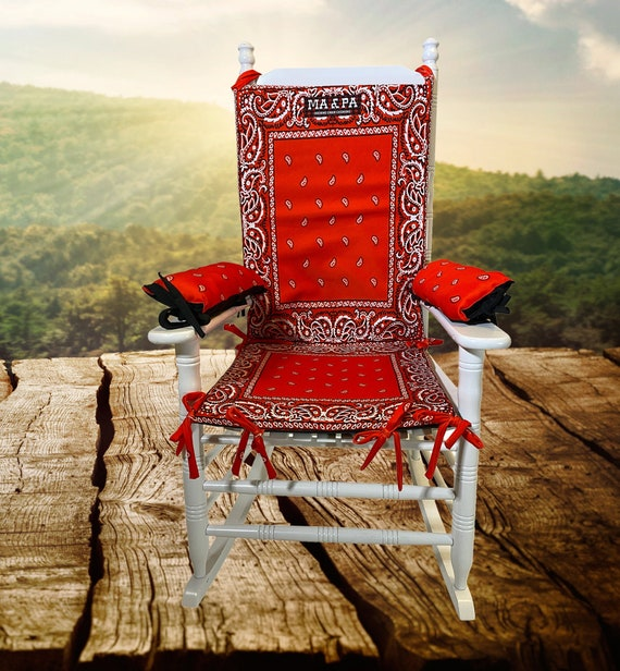 Red Bandana Rocking Chair And, Outdoor Furniture Rocking Chair Cushions