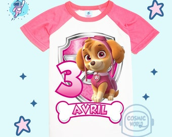 Girls Paw Patrol Skye Personalised Birthday t-shirt Ideal Gift Present
