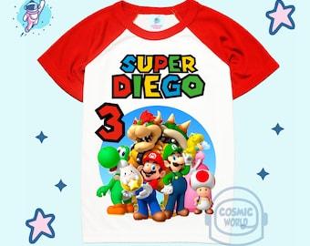 Super Mario Luigi Custom T Shirt Party Favor Birthday Gift Personalize Name On T