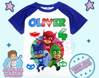 PJ MASK All Personalized Shirt Party Birthday Custom Gift Raglan Kids Family Matching Shirt Unisex Tee Short, 3/4 Sleeve