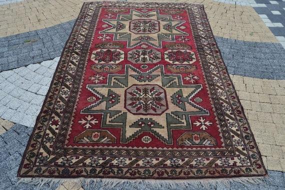 vintage turkish anatolian oushak rug  size 5.1x8.2 ft muted turkish rug,vintage rug,anatolian rug