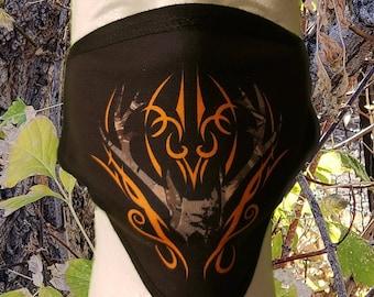 Black and Orange Tribal Hunting Deer Elk Washable Reusable Face Coverings 2 Layers