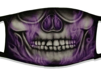 Skunky Skull Purple Smoke Artwork Washable Reusable Face Coverings 2 Layers