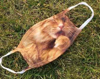 Tatum the orange tabby cat licking his paw Washable Reusable Face Coverings 2 Layers