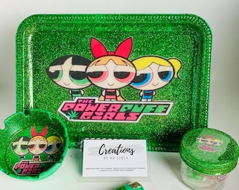 Rolling Tray Set Rollup Tray Gift Set Yellow,Blue Green Bubble Gum Girl