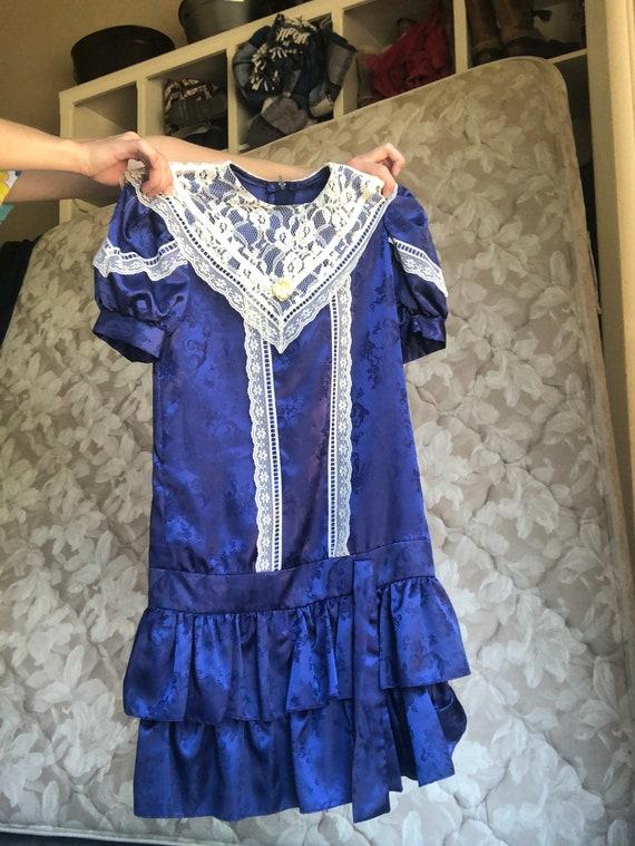 Romantic Blue Silk Prairie Dress