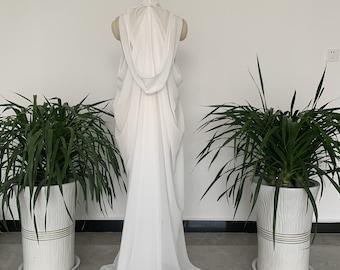 Chiffon Hooded Wedding Cloak Coat Halloween Robe White/Ivory/Black Long Bridal Cape Shawl Wraps Shrug
