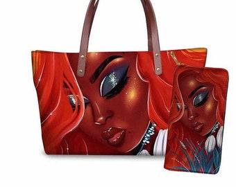 Black Girl Magic Luxury Design Afro Woman Tote Bag Black Woman African Art Natural Hair Art,2 pcsset Handbag and wallet,Black Girls Rock