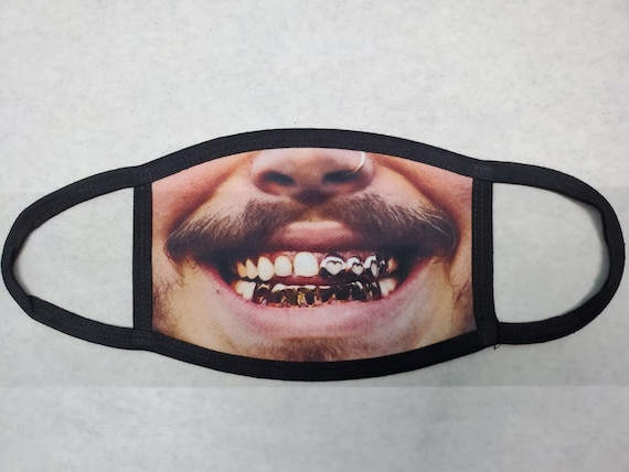 Post Malone Mask Face Covering Gold Teeth Grill Funny Etsy