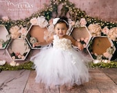 White Princess Flower Girl Tutu Dress for Girls Wedding Birthday Parties Outfit for Toddlers Baby Girls Kids