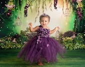 Purple Birthday Tutu Dress for Girls Princess Flower Girl Wedding Parties Outfit for Toddlers Baby Girls Kids