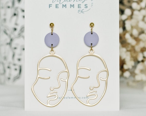 Polymer clay + brass earrings - {VF} Entières