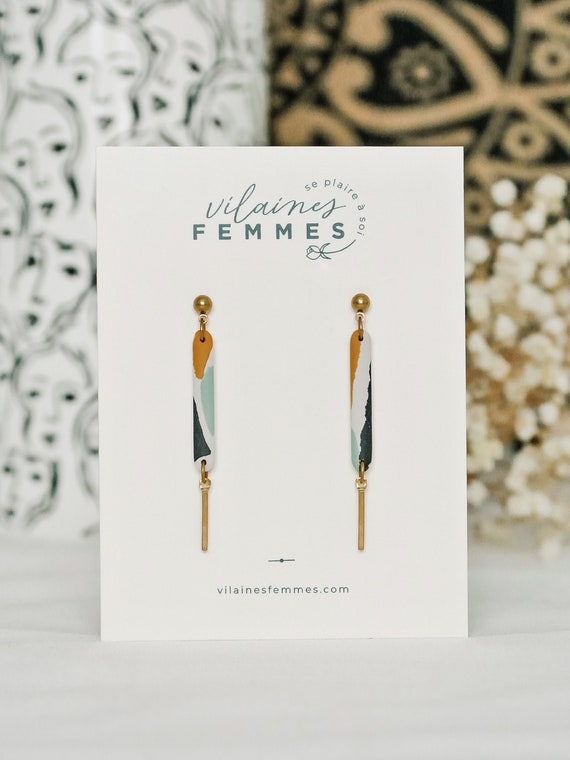 Polymer clay + brass earrings - {VF} Éloquentes - Variation 2