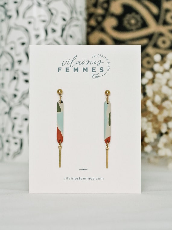 Polymer clay + brass earrings - {VF} Éloquentes