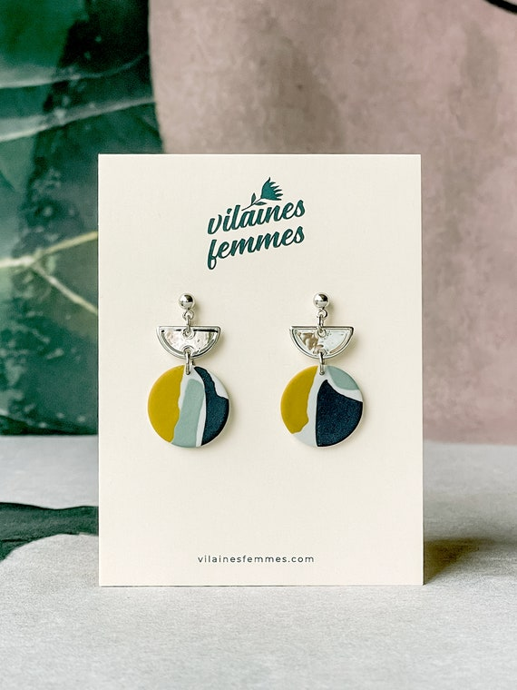 Handmade polymer clay earrings and silver plated accessories - {VF} Volages