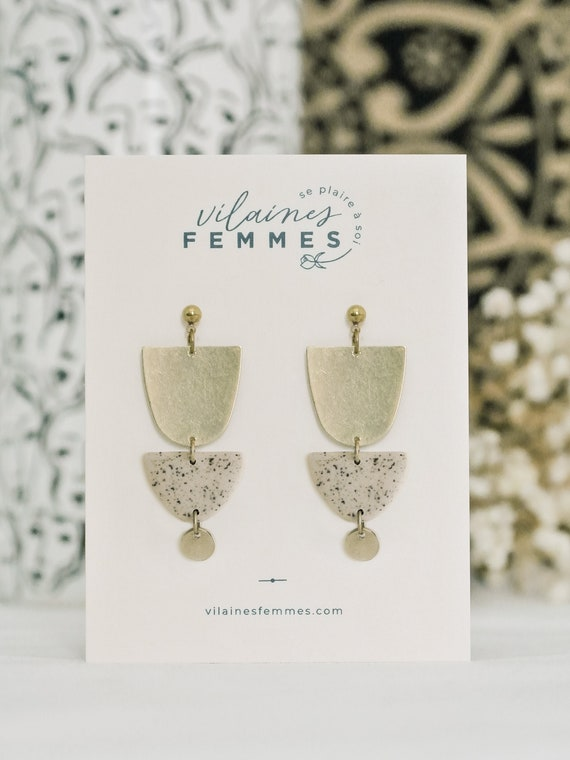Polymer clay + brass earrings - {VF} Envoutantes