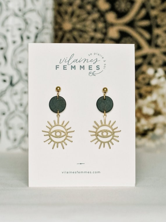 Polymer clay + brass earrings - {VF} Intuitives