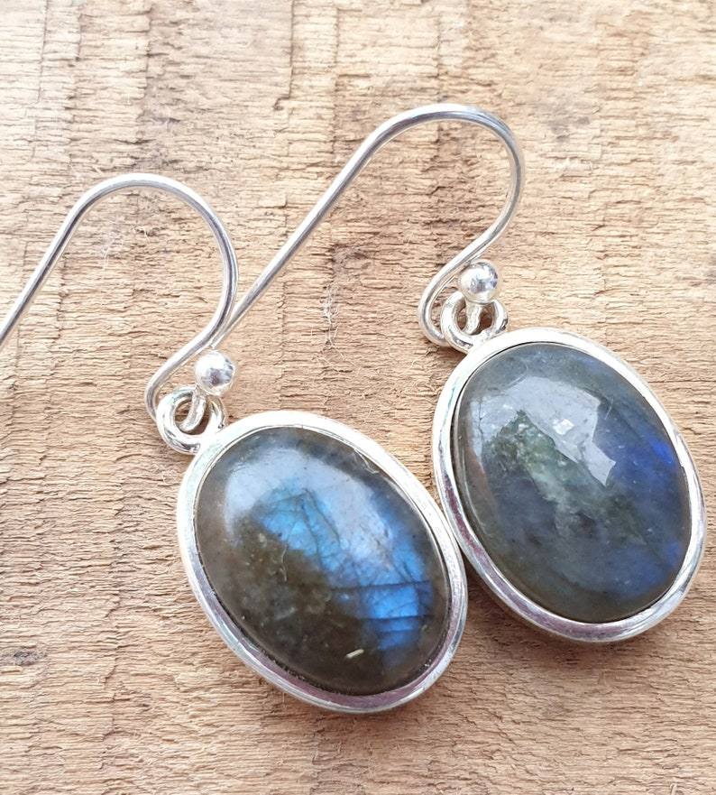 Antique Silver Earring Wedding Earring Top Quality 925-Sterling Silver Earring Black Rainbow Gemstone Earring Two Smooth Stone Earring