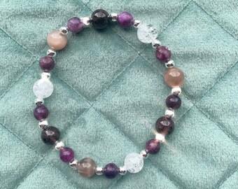 Menopause Crystal Healing Bracelet Moonstone, Lepidolite, Dark Red Garnet, Clear Quartz gemstones