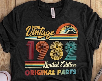 39th Birthday Gifts Shirt, Vintage 1982 Birthday Shirt, 39th Birthday Shirts, Classic 1982 Shirt, All Original Parts, Gifts for Him - Her