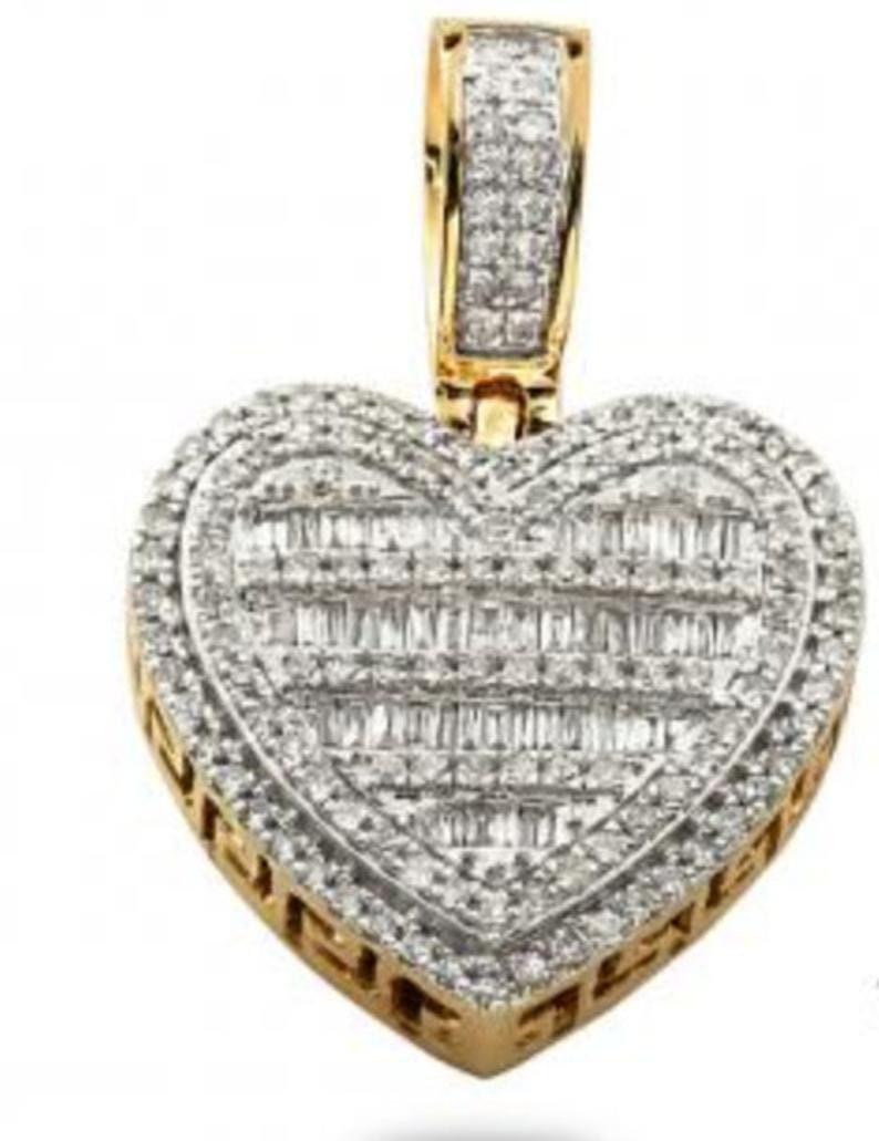 925 Sterling Silver Custom Made To Order Heart Baguette Pendant