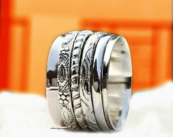 Solid 925 Sterling Silver Spinner Ring Meditation Ring Size Handmade Jewelry sr8