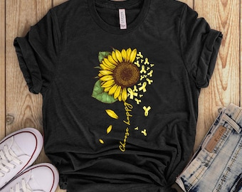 Endometriosis sunflower choose happy t shirt gift endometriosis warrior - Endometriosis awareness t shirt for women